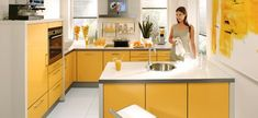 Minimalist Yellow Kitchen Design - Minimalist home interior design that is simple to date is also still a lot of interest by the community because,,, Yellow Kitchen Inspiration, Yellow Kitchen Designs, Yellow Kitchen Decor, Kitchen Wall Colors, Modern Kitchen Design, Orange Kitchen, Kitchen White, Modern Design, Kitchen Interior