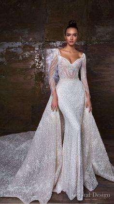 Crystal Design 2018 long sleeves sweetheart neckline full embellishment  glamorous sheath wedding dress a line overskirt royal train (penelopa) mv —  Crystal ... ab41acd136fc