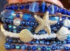 beautiful blue stacked coastal bracelets from SeaSide Strands http://etsy.me/158PYC5