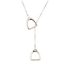 The beautiful silver equestrian double stirrup necklace is one of a kind and the perfect gift for any horse lover! Available in gold and silver finish.