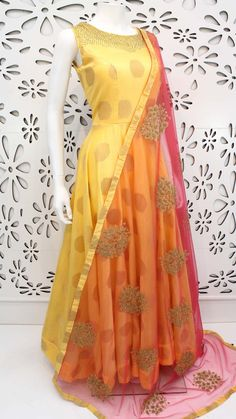 PalkhiFashion Exclusive Light Yellow Full Flair Silk Outfit With Beautiful Duppata. Kurti Designs Party Wear, Kurta Designs, Indian Gowns Dresses, Indian Outfits, Anarkali Dress, Lehenga, Anarkali Suits, Sarees, Designer Anarkali