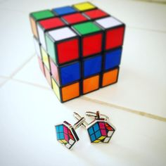 Great gift idea for men! Rubik's Cube Cufflinks. Perfect for all occasions.