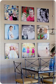 I love this photo wall--the square layout is fantastic and a nice balance of color & black & white photos. Do you prefer color or black and white or a mix in your wall galleries? I have either all color or all black&white in my house.