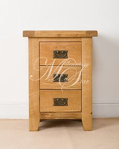 SOLID CHUNKY WOOD RUSTIC OAK BEDSIDE TABLE CABINET UNIT
