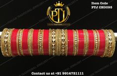 """""""Punjabi Traditional """"Gold Kundan Red Wedding Churra""""  Item Code - PTJ CH0095  For price please inbox with Image or WhatsApp at this number +91 9914721111…"""""""