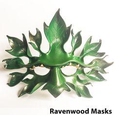 Greenman - leather mask - fast shipping - Ravenwood Masks