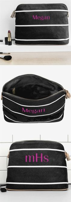 My Wedding Reception Ideas saved to Bridesmaid Bridesmaids Cosmetic Bags - A reusable gift for your bridesmaids, cotton canvas cosmetic bags personalized with each bridesmaid's name or initials will make the perfect wedding emergency kit to…More Black Bridesmaids, Man Child, Personalized Mugs, Reception Ideas, Wedding Reception, Wedding Ideas, Black Stripes, Bridesmaid Gifts, Cosmetic Bag