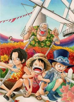 Ace, Luffy, Sabo, Garp, young, childhood, funny; One Piece