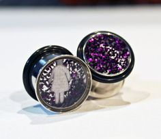 custom purple glitter jewelry earring plugs for stretched ears with people silhouettes