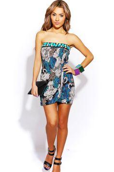 #1015store.com #fashion #style teal blue/mocha paisley beaded drape clubbing mini dress-$15.00