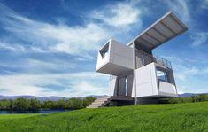 Prefab Home Zero House by Scott Specht Sustainable Style Prefab Homes, Modular Homes, Terrain Constructible, Futuristic Home, Casas Containers, Shipping Container Homes, Shipping Containers, Eco Friendly House, Design Case