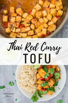 This Thai red curry coconut tofu is so delicious and so easy to make! #veganrecipes #tofu #thai