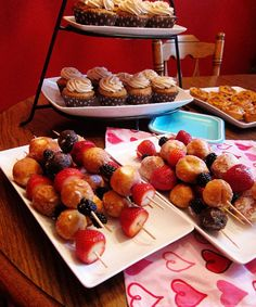 "brunch idea, doughnut holes and fruit skewers - LOVE THIS for a slumber party breakfast or even as a fun ""side dish"" on Christmas morning."