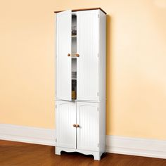 Country Kitchen Tall Two-Part Four-Door Pantry | Plus Size Buffet | OneStopPlus