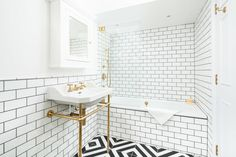 beautiful brass Lefroy Brooks washbasin on stand and shower controls. black and white Geometric floor tiles and Metro tiles to Family Bathroom Lawrence Street, Architects London, Polished Plaster, Stuck In The Mud, High Gloss Paint, Residential Architect, Metro Tiles, Roof Light, Marble Effect