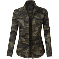 LE3NO Womens Long Sleeve Camo Print Military Anorak Jacket with... ( 32) 409158baa5