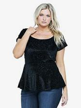 Velvet Burnout Peplum Top, Sizes XL-5X | ElegantPlus.com Editor's Pick
