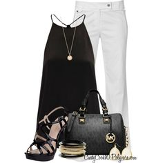 casual outfits - White trousers with black halter and accessories Bolsas Michael Kors, Cheap Michael Kors Bags, Michael Kors Handbags Outlet, Michael Kors Tote, Mk Handbags, Halter Tops, Reunion Outfit, Fashion Looks, Love Fashion