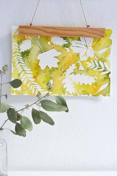Aquarell-DIY: Herbstblätter mit Rubbelkrepp - we love handmade