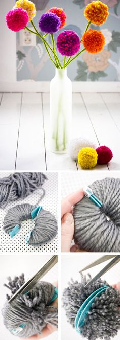 Pom Pom Flowers | Click Pic for 20 DIY Mothers Day Craft Ideas for Kids to Make | Homemade Mothers Day Crafts for Toddlers to Make