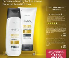 #GAINCONFIDENCE with #ORIFLAME for more details log on to www.cosmeticconsultantsinindia.com  A healthy look is always the most beautiful look.  HairX Restore Therapy Shampoo (250ml) at Rs. 259/-  HairX Restore Therapy Conditioner (250ml) at Rs. 259/-  Best Deal For a One-of-a-kind gift 20% OFF  Courtsey: Sr. Gold Director #ORIFLAME #INDIA Mrs. #MANISHA #MEHTA contact on +91 9920149708/9920764919
