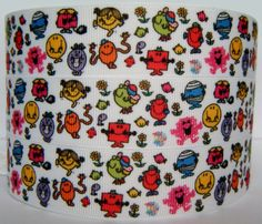 Mr Men and Little Miss 22mm Grosgrain Character Ribbon for Card Making /& Bows