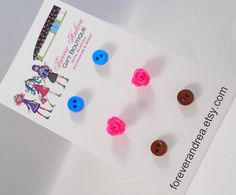 Tiny Button Earrings Tiny Rose Earrings Peacock Blue Hot Pink Brown Cute Earring Studs Earring Set Tween Earrings for Girls Mix and Match by foreverandrea on Etsy