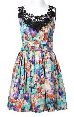 Blue Sleeveless Lace Floral Pleated Dress - Sheinside.com