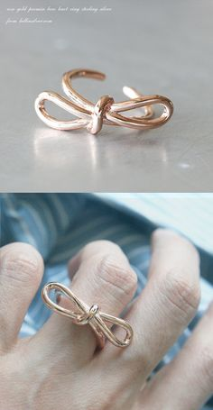 Rose Gold Promise Bow Knot Ring Sterling Silver from kellinsilver.com