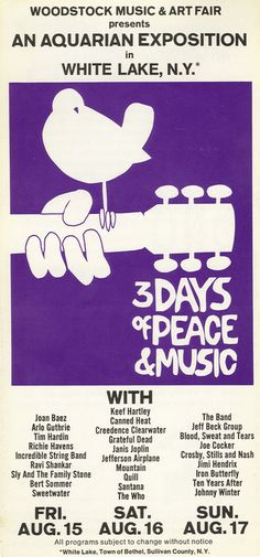 Woodstock was held at Max Yasgur's 600-acre dairy farm in the Catskills in the summer of 1969.