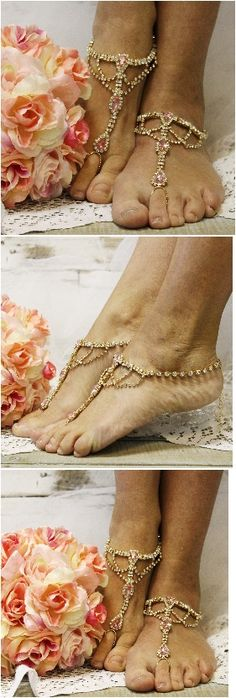 """pink rhinestone barefoot wedding sandals by wedding, foot jewelry, beach wedding, bridal """"PIN this pretty for later!'"""