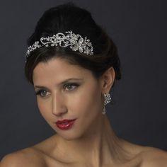 Antique Silver Floral Vine Rhinestone Wedding Headband