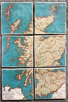 Vintage Turquoise Map Coasters - Scotland Set of 6.  (inpiration: printed map in separate frameless frames, or decoupaged onto wood or canvases)