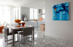 Artwork by Kenneth Torrance; 18KARAT creative director.   From the Depth series.   The beautiful cube chairs & marble table are 18KARAT product as well!