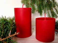 2 red soy candles cylinders 3x 3 and 3x 5 by CandlesbyDeganit, $23.00