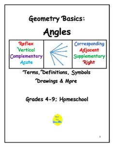 This 12-page booklet lists 20 terms relating to angles.  All 20 terms are introduced in elementary and middle school.  Vocabulary terms include definitions, drawings, symbols, and examples of facts where appropriate.  Types of angles included range from the basics--acute, right, obtuse, to move complex--reflex, corresponding, vertical, adjacent, etc.By Math Fan