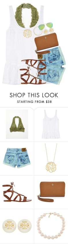 """im back from the beach w/ my friend for a week(:"" by thefashionbyem ❤ liked on Polyvore featuring Free People, J Brand, Ginette NY, Gianvito Rossi, Tory Burch, Carolee and Ray-Ban"