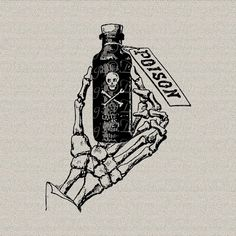 Gothic Grunge Halloween Skeleton Hand Bones Poison Bottle Printable Digital Download for Iron on Transfer Tote Pillow Tea Towel DT919 on Etsy, $1.14 CAD