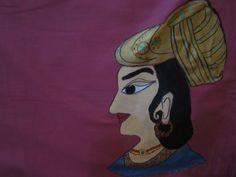 maharaja handpained pillow cover