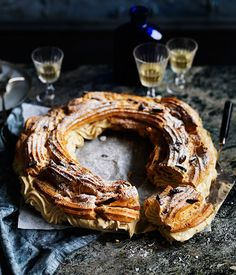 Paris-Brest filled with a roasted almond crème pâtissière to complement the crisp choux pastry. A simple almond praline would make a lovely addition.