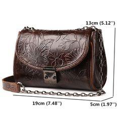 Genuine Leather Ethnic Lock Shoulder Bags Retro Chain Crossbody Bags Messenger Bags