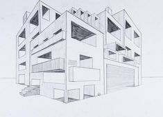 Perspektive mit 2 Fluchtpunkten: Futuristisches Gebäude