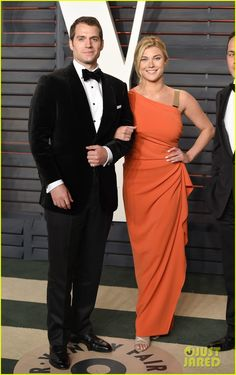 2016 Vanity Fair Oscar Party: Henry Cavill makes his red carpet debut in a Dunhill designed tuxedo, with girlfriend Tara King at the 2016 Vanity Fair Oscar Party held at the Wallis Annerberg Center for Performing Arts.