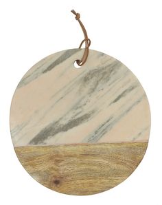 Turn of the Century Round Marble and Mango Wood Cheese Board with Leather String