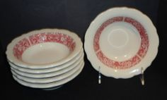 Syracuse China Strawberry Hill Restaurant Ware 6 Bowls red pattern