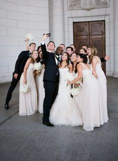 bridal party selfie at Union Station  from DC Garden Wedding at Fairmont Hotel | Photo: Hannah Hudson Photography
