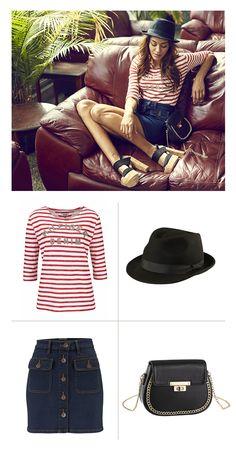 """Eine Prise 60's Style und ein paar zeitlose Accessoires – viel mehr braucht es nicht, um einen """"2016""""-tauglichen Retro-Look zu zaubern. Das sportliche Streifenshirt und der Jeansrock mit aufgesetzten Pattentaschen sorgen für 60's-Flair, während Hut und Handtasche das Outfit um unaufgeregte aber moderne Details ergänzen."""