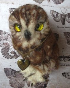 Original Cute Needle Felted Saw Whet Owl Owlet by Artist Robin Joy Andreae   #AllOccasion
