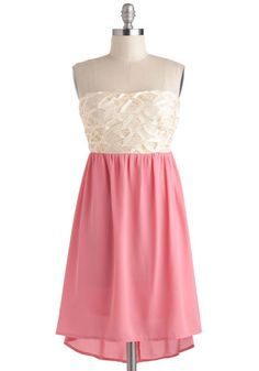 I Loop to You Dress - Short, Pink, White, Party, Empire, Strapless, Prom, High-Low Hem