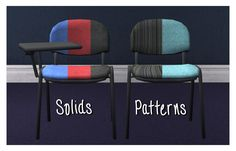 """(Bigger image.) Here are two heavily edited 3D models that I converted for TS2! You get a plain chair, and a """"school desk"""" version, both useable by sims as chairs. The desk part is deco and level with a tabletop OMSP. You get five colours of the chair, which is separately recolourable from the…"""